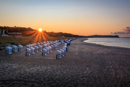 Ruegen sunset on the north beach in Baltic Sea Resort Goehren on the island ruegen
