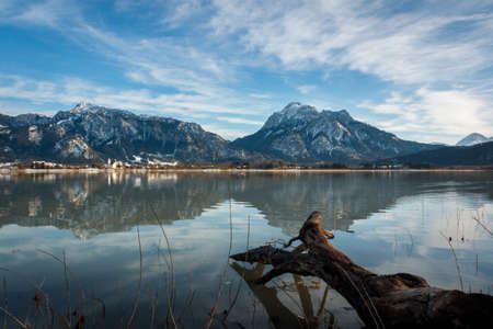 View from Forggensee to the Ammer Mountains, Ammergau Alps