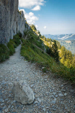 Hiking trail to the mountain summit on the Steineberg on the Nagelfluhkette chain in the allgäu alps