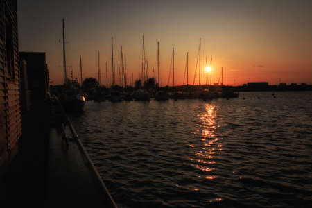 Evening mood at the yacht and fishing port in Gager
