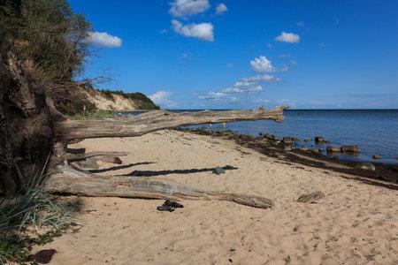 The southern beach, natural beach in Ostseebad Goehren on the island of Ruegen