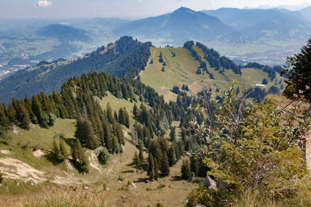 View from the top of the Steineberg to the Bärenköpfle on the Nagelfluhkette chain in the Allgäu Alps