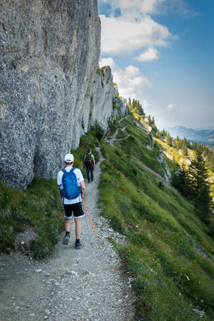 Hike to the mountain summit on the Steineberg on the Nagelfluhkette chain in the Allgäu Alps