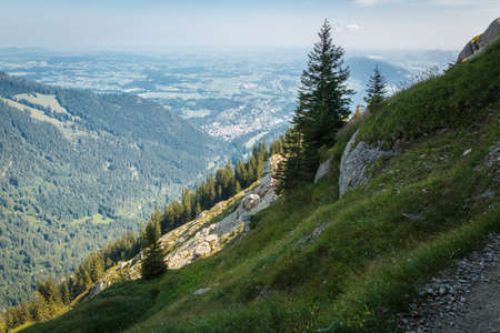 View to Immenstadt on the hiking trail to the mountain summit on the Steineberg 免版税图像