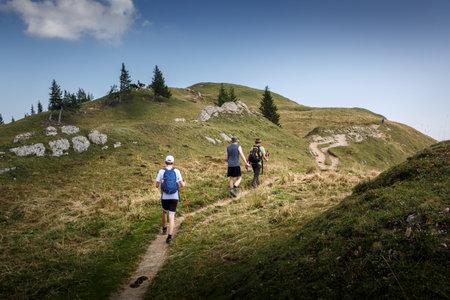 Hiking on the Nagelfluhkette in the Allgäu Alps 免版税图像