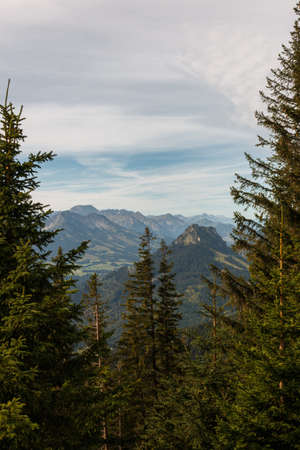 View from the summit Edelsberg of the Allgäu Alps mountains