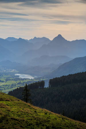 View to the Weißensee in the Allgäu Alps from the Alpspitz in Nesselwang