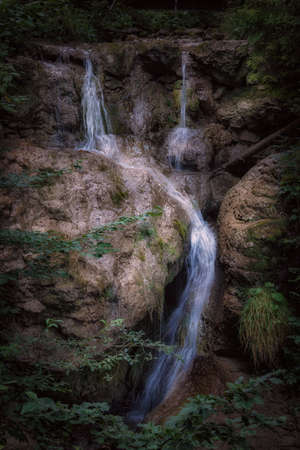 Waterfall on the ascent to the Alpspitz in Nesselwang in the Allgäu Alps