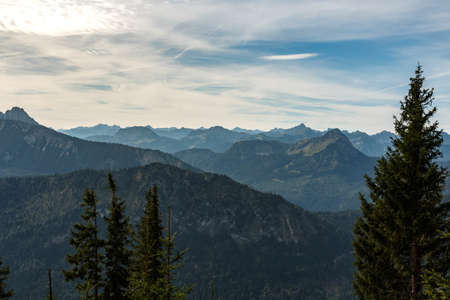 Panorama from the summit Edelsberg to the Allgäu Alps mountains