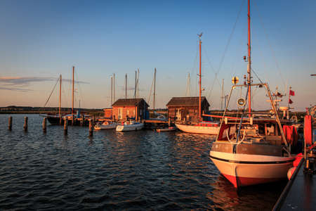 Evening mood at the yacht and fishing port in Gager on the island