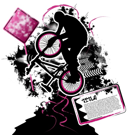 cyclist silhouette: BMX cyclist template vector Illustration