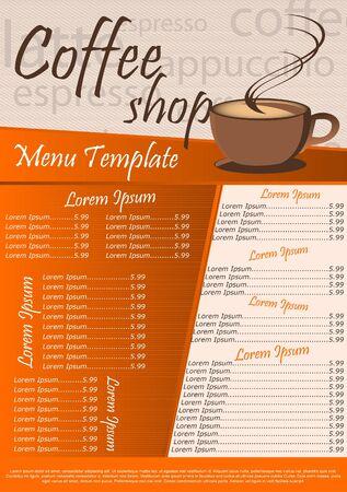 Menu Template Café. Illustration Vecteur