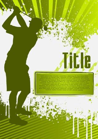 Golf Grunge cartel plantilla