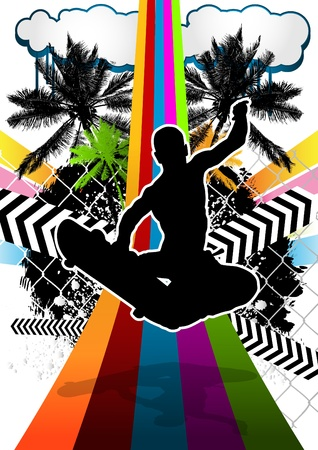 Summer abstract background design with skateboarder silhouette. Vector illustration. Vector