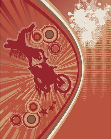 Abstract Grunge Orange Background with Motorcyclist Silhouette Stock Vector - 10105747