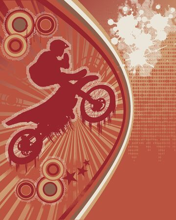 motor racing: Abstract Grunge Orange Background with Motorcyclist Silhouette