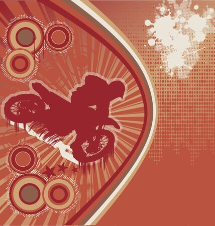 Abstract Grunge Orange Background with Motorcyclist Silhouette Stock Vector - 10105749