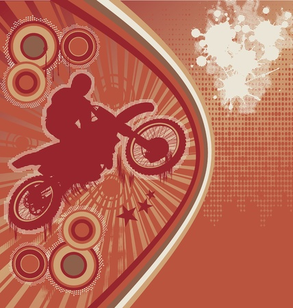 Abstract Grunge Orange Background with Motorcyclist Silhouette