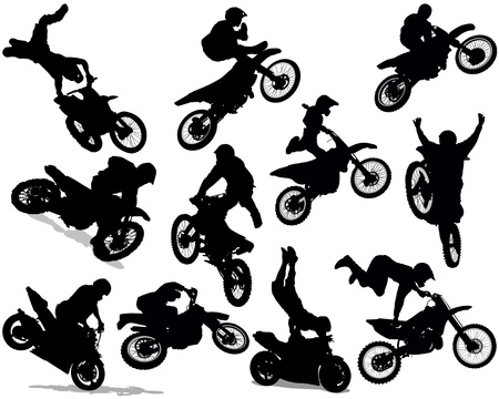 motocross riders: Motorcycle Stunt Silhouette Set Isolated On White Illustration