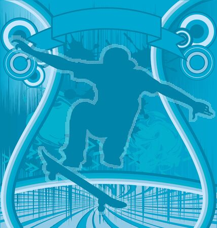 urban culture: Abstract Blue Grunge Background with Skater Silhouette Illustration