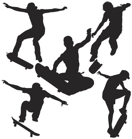skateboarding tricks: Skater Silhouette Set