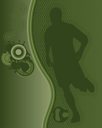 soccerball: Abstract Grunge Background with Soccer Player Silhouette