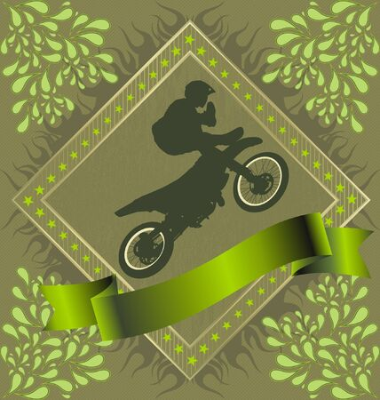 Abstract Background with motorcycle stunt silhuette in fire frame Stock Vector - 10105768