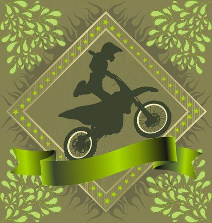 Abstract Background with motorcycle stunt silhuette in fire frame Vector
