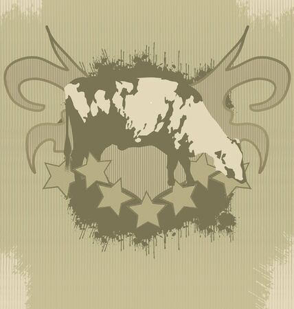 Grunge fashionable effect for t-shirt printing with a horse silhouette