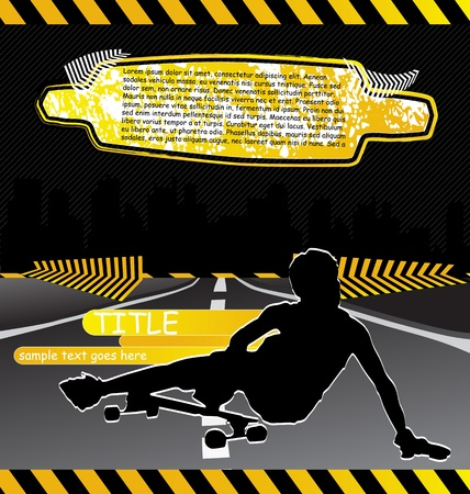 Urban city composition with longboard skateboarder silhouette Illustration
