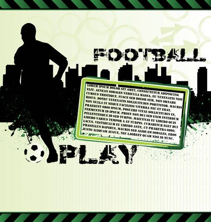 Football urban grunge poster with soccer player silhouette Vector