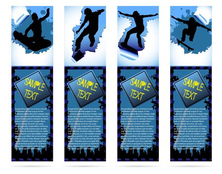 Web elements on urban grunge background with skateboarder silhouette Vector