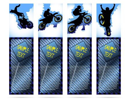 dirt bike: Web elements on metalic background with motorcycle silhouette