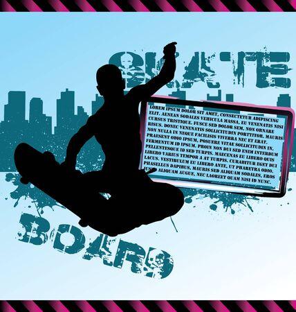 adn: Composición vector urbano con rascacielos de la ciudad y la silueta de skater