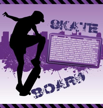 adn: Composici�n de vector urbano con silueta de skater de adn de ciudad skyline Vectores