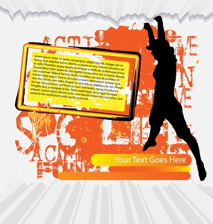 woman jump: Active woman flyer template on abstract background with female silhouette Illustration