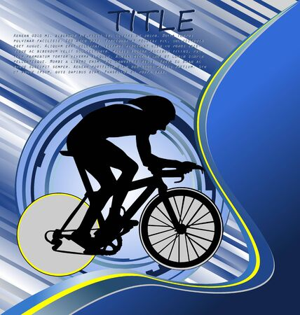 bike riding: Design Template With Cyclist Silhouette
