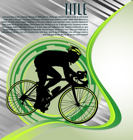 riding bike: Design Template With Cyclist Silhouette