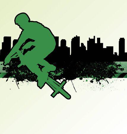 BMX cyclist template vector on urban grunge background