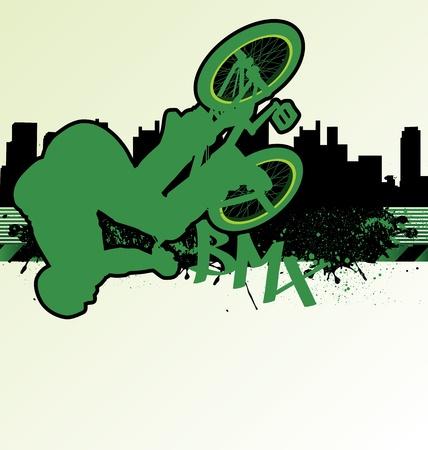 urban grunge: BMX cyclist template vector on urban grunge background