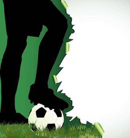 campeonato de futbol:  Cartel de fútbol con silueta de jugador de fútbol Vectores