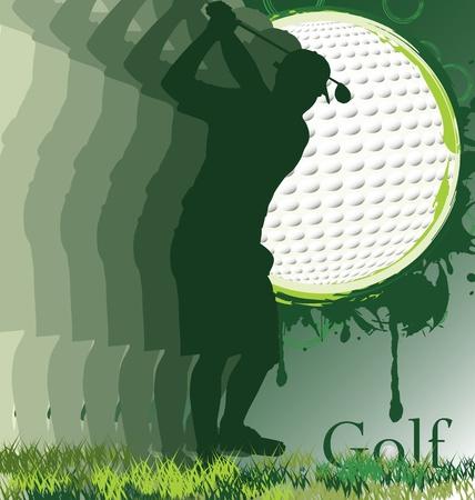 lanzamiento de bala: Cartel de golf con silueta de jugador Vectores