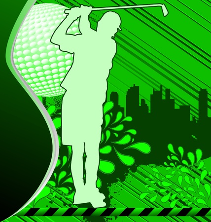 Golf urban grunge poster with player silhouette