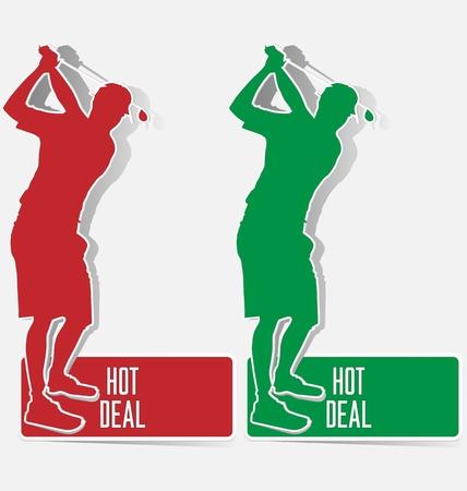 Golf hot deal label sticker vector