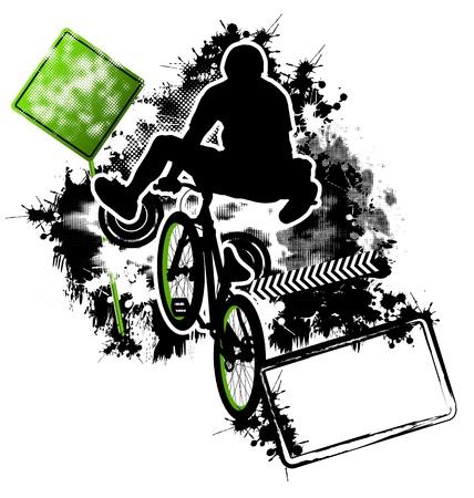 bmx: BMX cyclist template vector Illustration