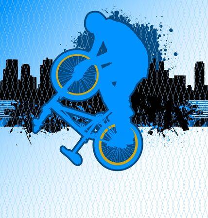 bmx: BMX cyclist template vector on urban grunge background