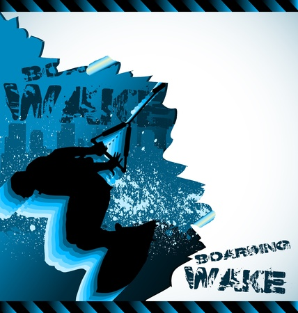 wakeboarding: Urban vector composition with city skyline and wakeboarder silhouette Illustration