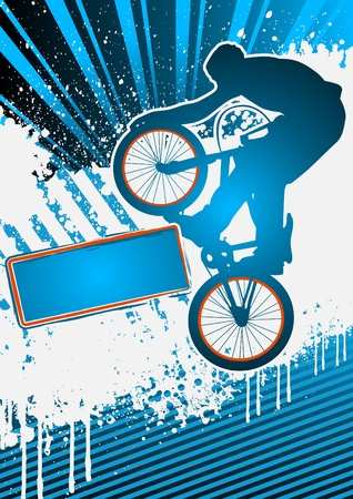 BMX cyclist poster template vector Illustration