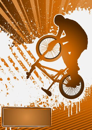 bmx bike: BMX cyclist poster template vector Illustration