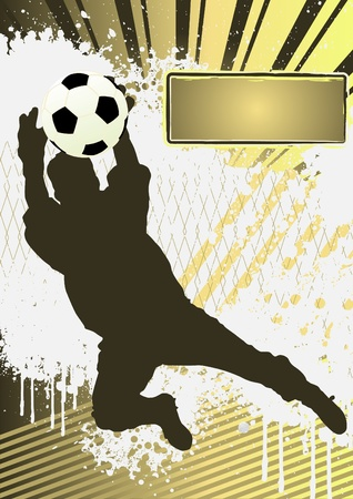 Football Grunge Poster Template with soccer player silhouette Vector